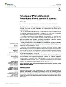 Kinetics of Photocatalyzed Reactions: Five
