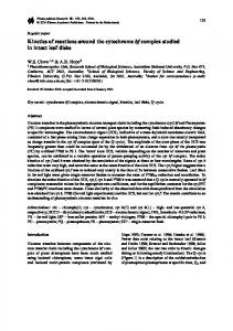 Kinetics of reactions around the cytochrome bf complex ... - Springer Link
