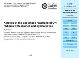 Kinetics of the gas-phase reactions - CiteSeerX