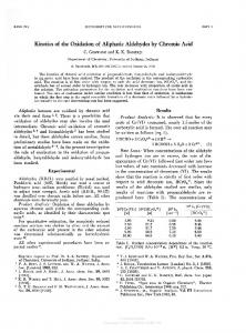 Kinetics of the Oxidation of Aliphatic Aldehydes by ...