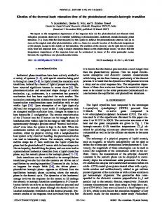 Kinetics of the thermal back relaxation time of the photoinduced