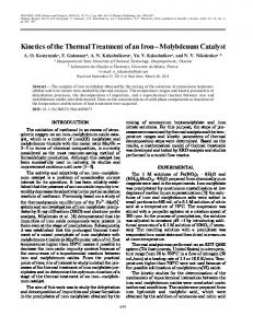 Kinetics of the thermal treatment of an iron-molybdenum catalyst