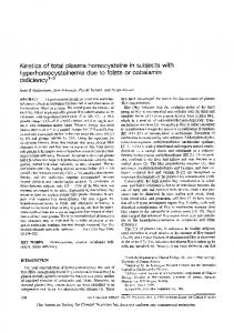 Kinetics of total plasma homocysteine in subjects with ...