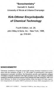 Kirk-Othmer Encyclopedia of Chemical Technology; 4th Ed., J. Wiley ...