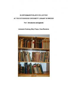 KLOSTERMANN'S SLAVIC COLLECTION AT THE ... - GUPEA
