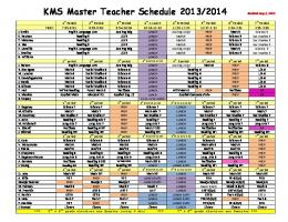 KMS Master Teacher Schedule 2013/2014 Revised Aug 2, 2013