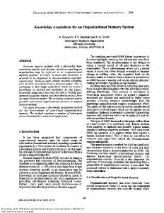 Knowledge Acquisition for an Organisational Memory ... - CiteSeerX
