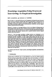 Knowledge Acquisition Using Structured Interviewing
