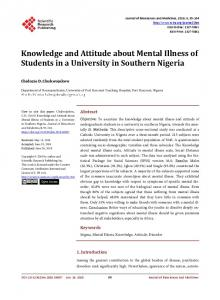 Knowledge and Attitude about Mental Illness of Students in a ...