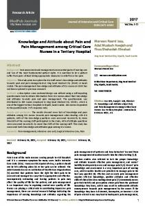 Knowledge and Attitude about Pain and Pain Management among ...
