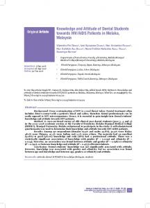 Knowledge and Attitude of Dental Students towards HIV/AIDS ... - USM