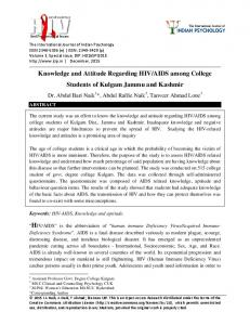 Knowledge and Attitude Regarding HIV/AIDS among College ...
