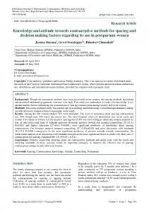Knowledge and attitude towards contraceptive methods ... - eJManager