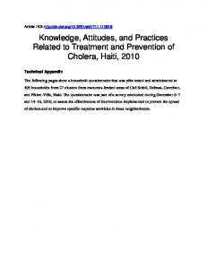 Knowledge and Practices Related to Water Treatment and ... - CDC