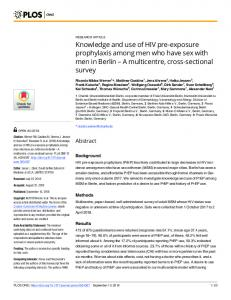 Knowledge and use of HIV pre-exposure prophylaxis among ... - Plos
