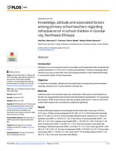 Knowledge, attitude and associated factors among primary ... - PLOS