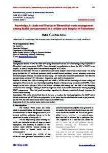Knowledge, Attitude and Practice of Biomedical waste management ...