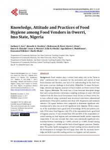 Knowledge, Attitude and Practices of Food Hygiene among Food ...