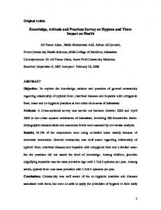 Knowledge, Attitude and Practices Survey on Hygiene and There