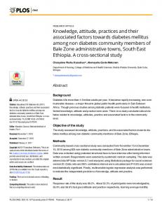 Knowledge, attitude, practices and their associated factors ... - PLOS