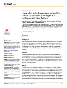 Knowledge, attitudes and awareness of the human ... - PLOS