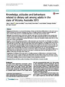 Knowledge, attitudes and behaviours related to