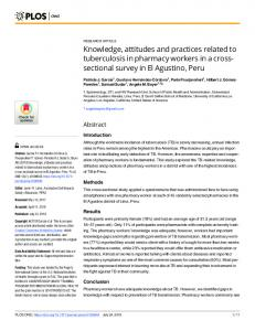 Knowledge, attitudes and practices related to tuberculosis in ... - PLOS