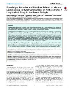 Knowledge, Attitudes and Practices Related to Visceral Leishmaniasis ...