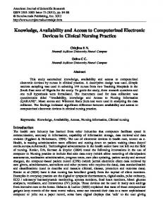 Knowledge, Availability and Access to Computerized ...