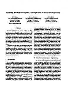 Knowledge Based Mechanisms for Tutoring ... - Rutgers Physics