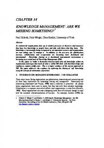 KNOWLEDGE MANAGEMENT: ARE WE MISSING SOMETHING?