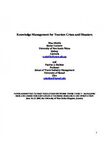 Knowledge Management for Tourism Crises and Disasters