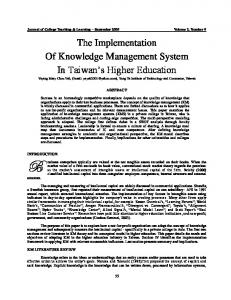 Knowledge Management Implementation Model In Higher Education ...