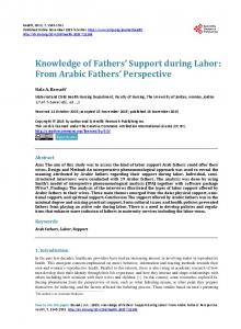 Knowledge of Fathers' Support during Labor: From Arabic Fathers ...