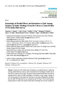 Knowledge of Health Effects and Intentions to Quit Among Smokers in ...