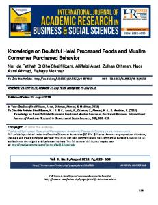Knowledge on Doubtful Halal Processed Foods and Muslim
