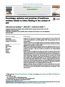 Knowledge, opinions and practices of healthcare workers related to ...