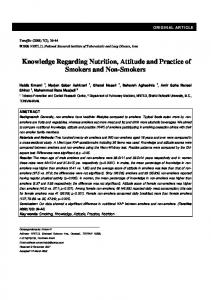 Knowledge Regarding Nutrition, Attitude and Practice of ... - Tanaffos