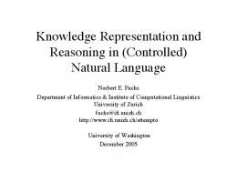 Knowledge Representation and Reasoning in - Semantic Scholar