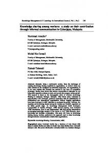 Knowledge sharing among workers: a study on their ... - CiteSeerX