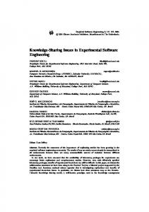 Knowledge-Sharing Issues in Experimental Software Engineering