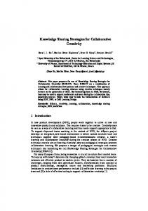 Knowledge Sharing Strategies for Collaborative Creativity