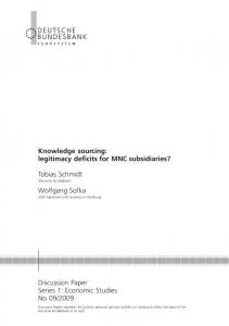 Knowledge sourcing: legitimacy deficits for MNC ... - SSRN papers