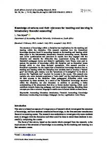 Knowledge structures and their relevance for teaching and learning in ...