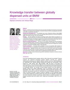 Knowledge transfer between globally dispersed units at BMW - Core