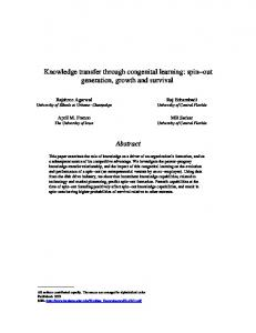 Knowledge transfer through congenital learning - Gies College of ...