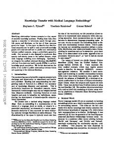 Knowledge Transfer with Medical Language Embeddings