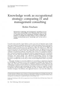 Knowledge work as occupational strategy ... - Wiley Online Library