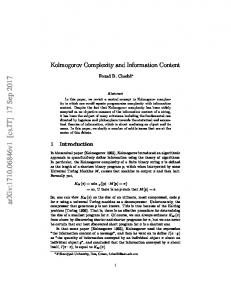 Kolmogorov Complexity and Information Content