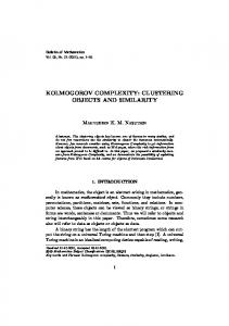 KOLMOGOROV COMPLEXITY: CLUSTERING OBJECTS AND ...